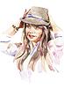 Aquarell-Porträt der jungen Frauen im Hut