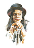 Aquarell-Porträt der Frau im Hut