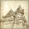 Sketchy Zeichnung des historischen Gebäudes