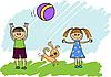 Дети играют с мячом | Векторный клипарт