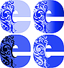 Цветочные буквицы E | Векторный клипарт