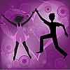 夫妇和紫色的心 | 向量插图