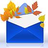 Конверт с осенней листвой | Векторный клипарт