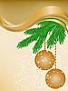 Beige Karte mit Fichte Äste und Weihnachtskugeln