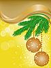 gelbe Karte mit Fichte Äste und Weihnachtskugeln