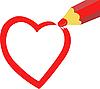 Нарисованное сердце | Векторный клипарт