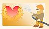 火红的心 | 向量插图
