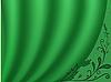 绿色的窗帘 | 向量插图