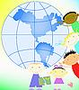 Kinder und Weltkugel