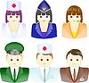 Icons von Menschen unterschiedlicher Berufe