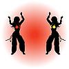 Zwei Mädchen tanzen Osten Tanz.