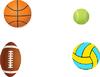 Tennisball, Fußball, Basketball und Volleyball
