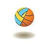 angeschlossene Volleyball und Basketball - Bälle