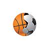 Verbindung der Bälle für Fußball und Basketball