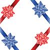 Zwei rote und zwei dunkelblaue Bänder