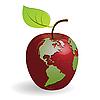 Яблоко-глобус | Векторный клипарт