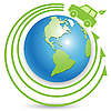Vector clipart: bio car on globe
