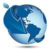 Erdkugel und blauer Pfeil | Stock Vektrografik