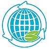 Blaue Weltkugel mit Pfeilen | Stock Vektrografik