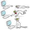 Katz und Computer-Maus