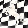 Schachbrett und Pferd