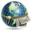 Земной шар и доллары | Векторный клипарт
