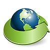 글로브와 녹색 화살표 | Stock Vector Graphics