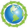 Земной шар и зеленые стрелки