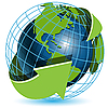 세계 및 녹색 화살표 | Stock Vector Graphics