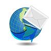 Globus i białe koperty | Stock Vector Graphics