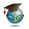 Земной шар в шапке магистра | Векторный клипарт