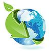 Erdkugel und grüner Pfeil | Stock Vektrografik