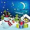 Schneemann und Geschenke