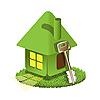 grünes Haus und Schlüssel