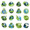 Icons mit Erdkugeln und Pfeilen | Stock Vektrografik