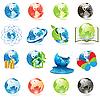 Иконки с земным шаром | Векторный клипарт
