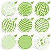 Зеленые иконки с земным шаром | Векторный клипарт