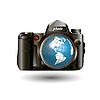 Kamera und Weltkugel