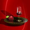 Vektor Cliparts: Wein und Apfel
