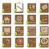 Vektor Cliparts: Ikonen Aus Holz