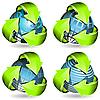 Vektor Cliparts: Globe und grünen Pfeile