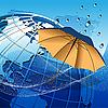 Vektor Cliparts: Globe unter dem Dach