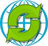 Vektor Cliparts: Erdkugel und grüne Pfeile