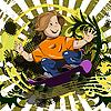 Vektor Cliparts: Junge auf Skateboard