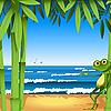 Frosch auf der sandigen Küste