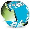 Vektor Cliparts: Globus mit grünen Pfeil