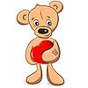 Vektor Cliparts: Teddybär mit Herz