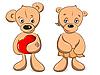 Vektor Cliparts: zwei von Teddybären