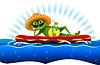 Frosch auf der Wassermatratze