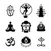 Set von buddhistischen Icons